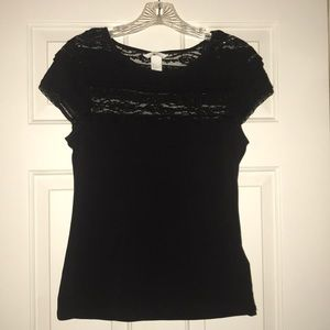 Black Tee with lace top